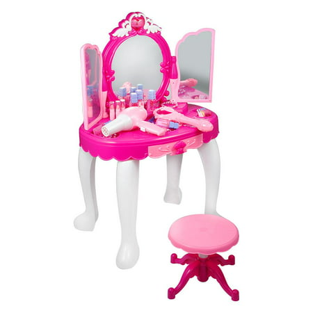 Ymiko Girls Pretend Play Makeup Table with Stool, Mirror, Hair Dryer, Princess Dressing Table Toy For Kids Little Girls Play House Game Birthday Gift - Dressing Up Ideas For Kids