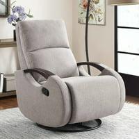 Serta Modern Swivel Glider Recliner, Gray Fabric Upholstery