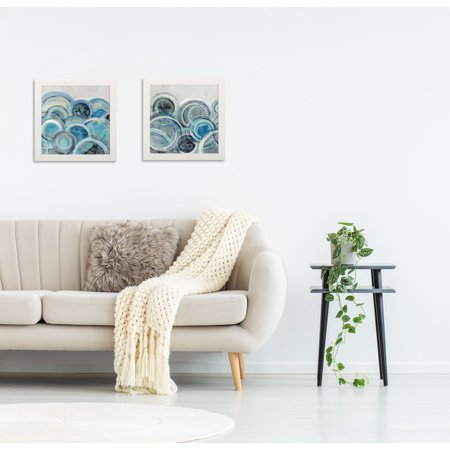 Gango Home Decor Variation Blue Grey Abstract Wall Art; Two Blue 12x12in Art Prints in White Frames ()