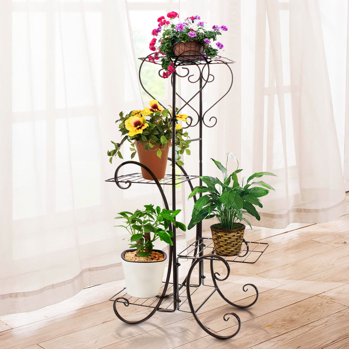 Plant Stand,2 Tier Metal Outdoor /& Indoor Potted Flower Stand Display Shelf for Home,Garden,Patio,Plant Lovers