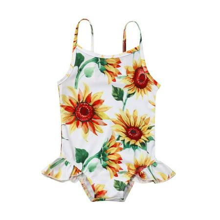 Newborn Kid Baby Girl SunFlower Swimwear Romper Sleeveless Bathing Suit (Romper Suit)