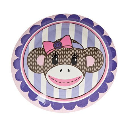 Fun Express - Miss Sock Monkey Dessert Plate (8pc) for Birthday - Party Supplies - Print Tableware - Print Plates & Bowls - Birthday - 8 Pieces ()