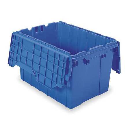 Attached Lid - AKRO-MILS Attached Lid Container,1.62 cu ft,Blue 39120BLUE