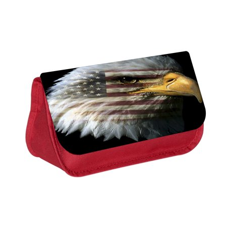 Patriotic Bald Eagle with American Flag Imprint -  Red Girls / Boys Pencil Case - Pencil Bag - with 2 Zippered Pockets