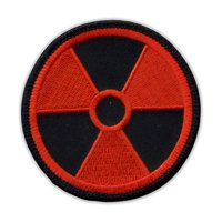 """Motorcycle Jacket Embroidered Patch - Radioactive Nuclear Symbol (Orange, Black) - Vest, Cut, Leathers - 3"""" Round"""