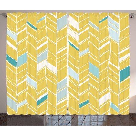 Yellow Chevron Curtains 2 Panels Set, Herringbone Pattern Zig Zag Lines in Hand Drawn Doodle Art Style, Window Drapes for Living Room Bedroom, 108W X 63L Inches, Pale Blue Mustard, - Herringbone Brick Pattern