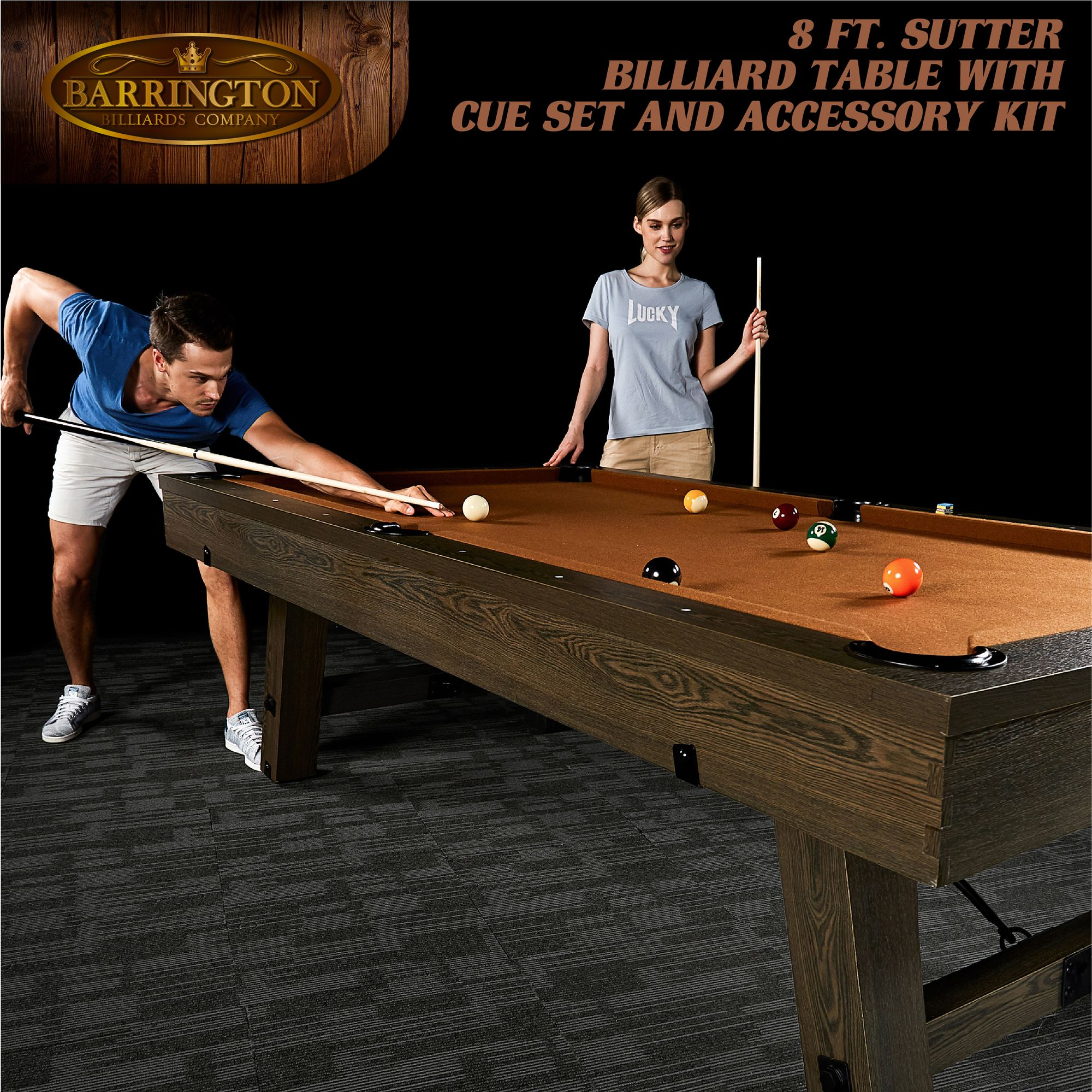 """Barrington 96"""" Sutter Collection Pool Table, Cue Set, Rustic"""