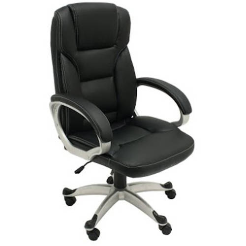 ALEKO ALC2218BL High Back Office Chair, Ergonomic Computer Desk Chair, Black PU Leather