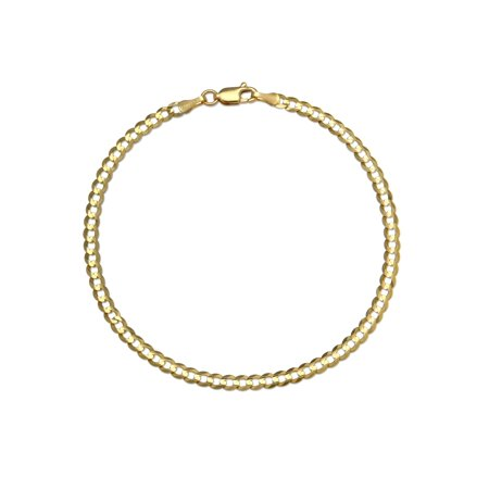 14 KARAT YELLOW GOLD SOLID CURB 3.60MM WIDE CHAIN WITH LOBSTER CLASP IN 9.00 INCHES LONG BRACELET