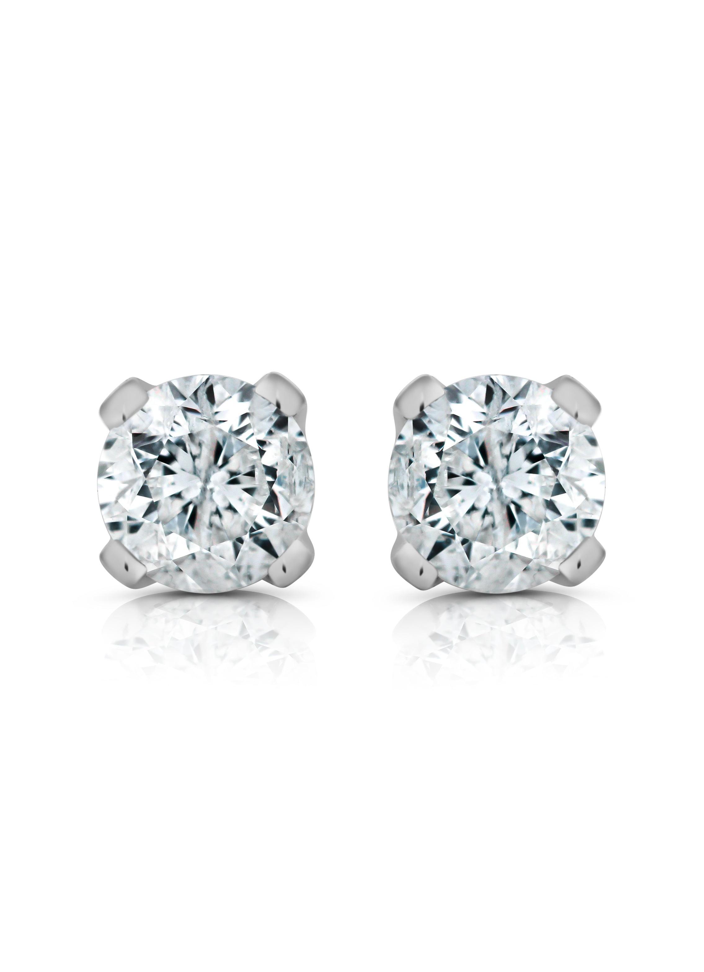 IGI Certified 1/3 Cttw 14K Solid White Gold Diamond Stud Earrings