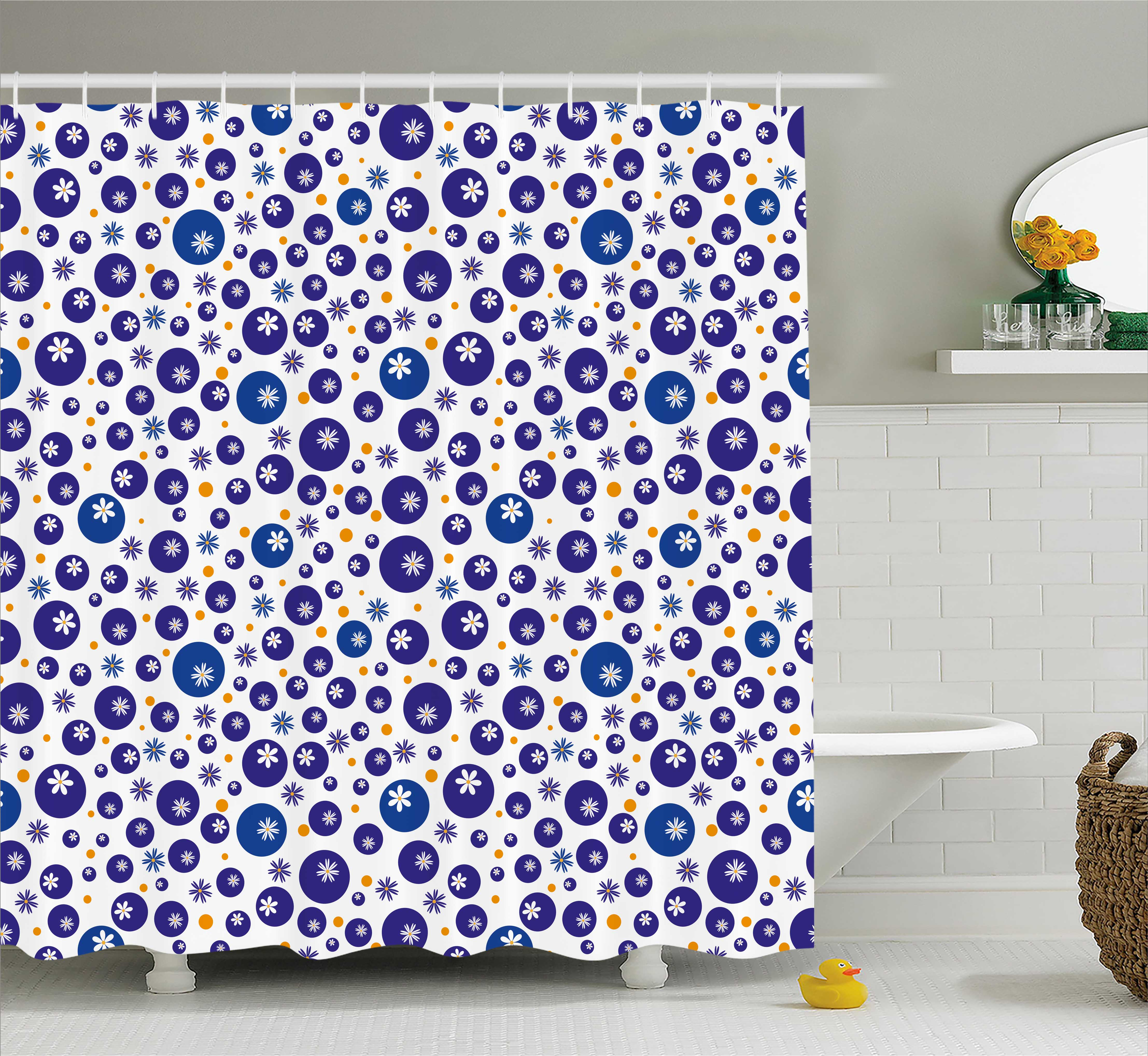 Floral Shower Curtain, Blue and Orange Polka Dots with Little Spring Flowers Chamomiles and Daisies, Fabric Bathroom Set with Hooks, 69W X 75L Inches Long, Blue White Orange, by Ambesonne