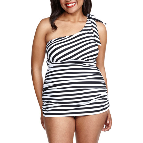 Suddenly Slim by Catalina Women's Plus-Size Retro Slimming One-Shoulder One-Piece Swimsuit