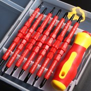 7Pcs Insulated Electrical Screwdriver Set and Flat Double Head Precision with Magnetic Tips Repairing Hand Tools