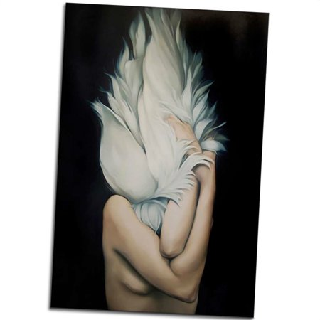 Outdoorline Women Body Art Oil Painting Feather Garland Canvas Hd Print Oil Drawing Human Body Poster Picture Unframed Walmart Canada