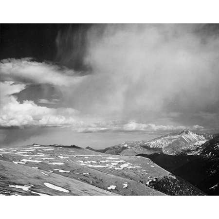 Mountain tops low horizen low hanging clouds in Rocky Mountain National Park Colorado ca 1941- Poster Print by Ansel