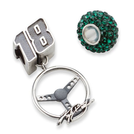 Solid 925 Sterling Silver ONE DARK GREEN CRYSTAL BEAD with 18 BEAD & STEERING WHEEL (17mm x 28mm)