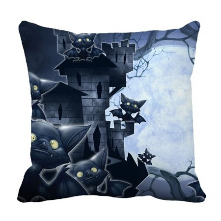 Halloween Night Moon (YKCG Halloween Castle Funny Bats Full Moon Night Pillowcase Pillow Cushion Case Cover Twin Sides 18x18)