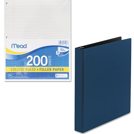 "Mead Filler Paper, College Ruled, 3-Hole Punched, 11 x 8-1/2, 200 Sheets Per Pack and Avery Durable Binder with EZ-Turn Ring, 1"" Capacity Bundle"