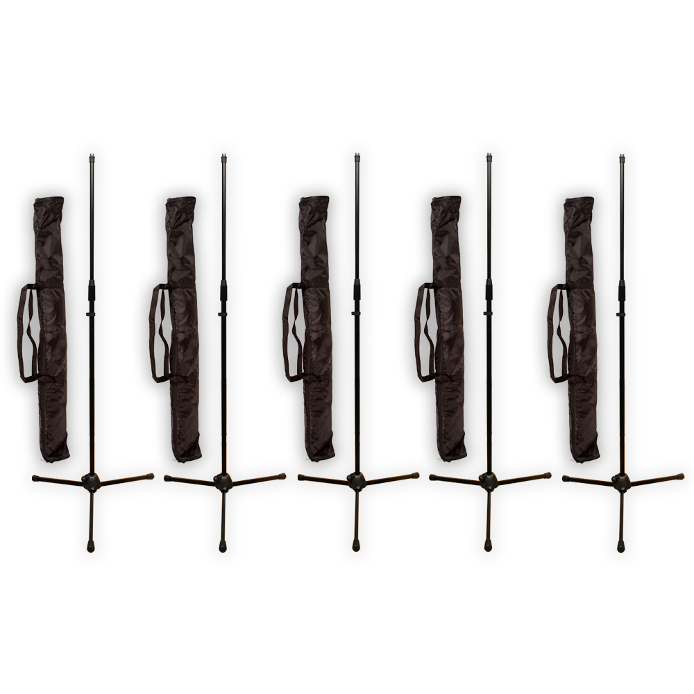 Podium Pro MS2 Adjustable Steel Microphone Stands with Stand Bags 5 Stand Set MS2SET6-5S