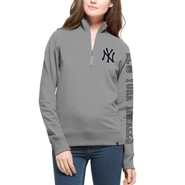 New York Yankees '47 Women's Shimmer Cross-Check Quarter-Zip Sweatshirt - Gray