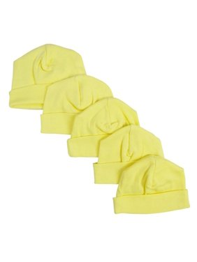 Baby Cap, Yellow - Pack of 5