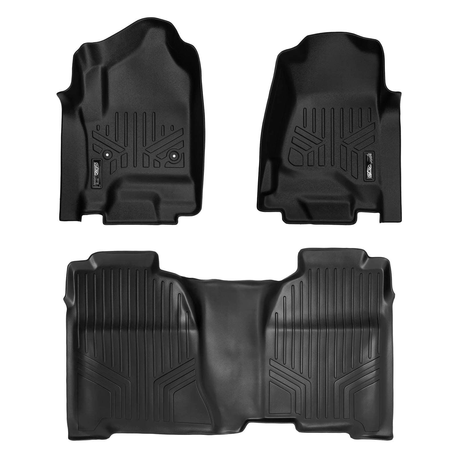 MAXFLOORMAT All Weather Custom Floor Mats Liner Set for Chevy CREW CAB (Black)
