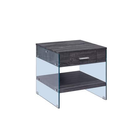 End Table with Drawer & Glass Legs, High Gloss Finish