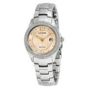 Citizen Women's Eco Drive Swarovski Crystal Pink Face Watch FE1140-86X