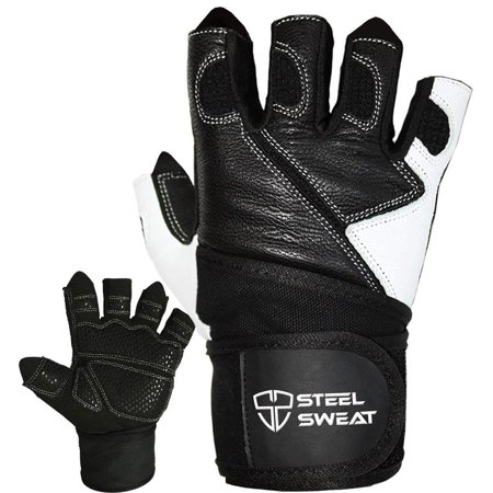 Steel Sweat Weightlifting Gloves - 18 inch Wrist Wrap Support for Workout, Gym and Fitness Training - Best for Men and Women Who Love Weight Lifting - Leather