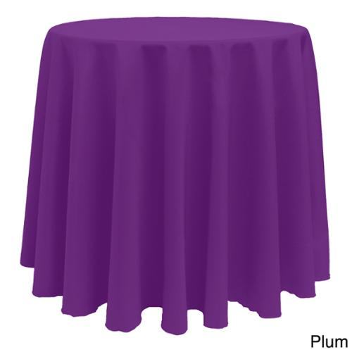 Solid Color 108-inches Round Colorful Tablecloth PLUM