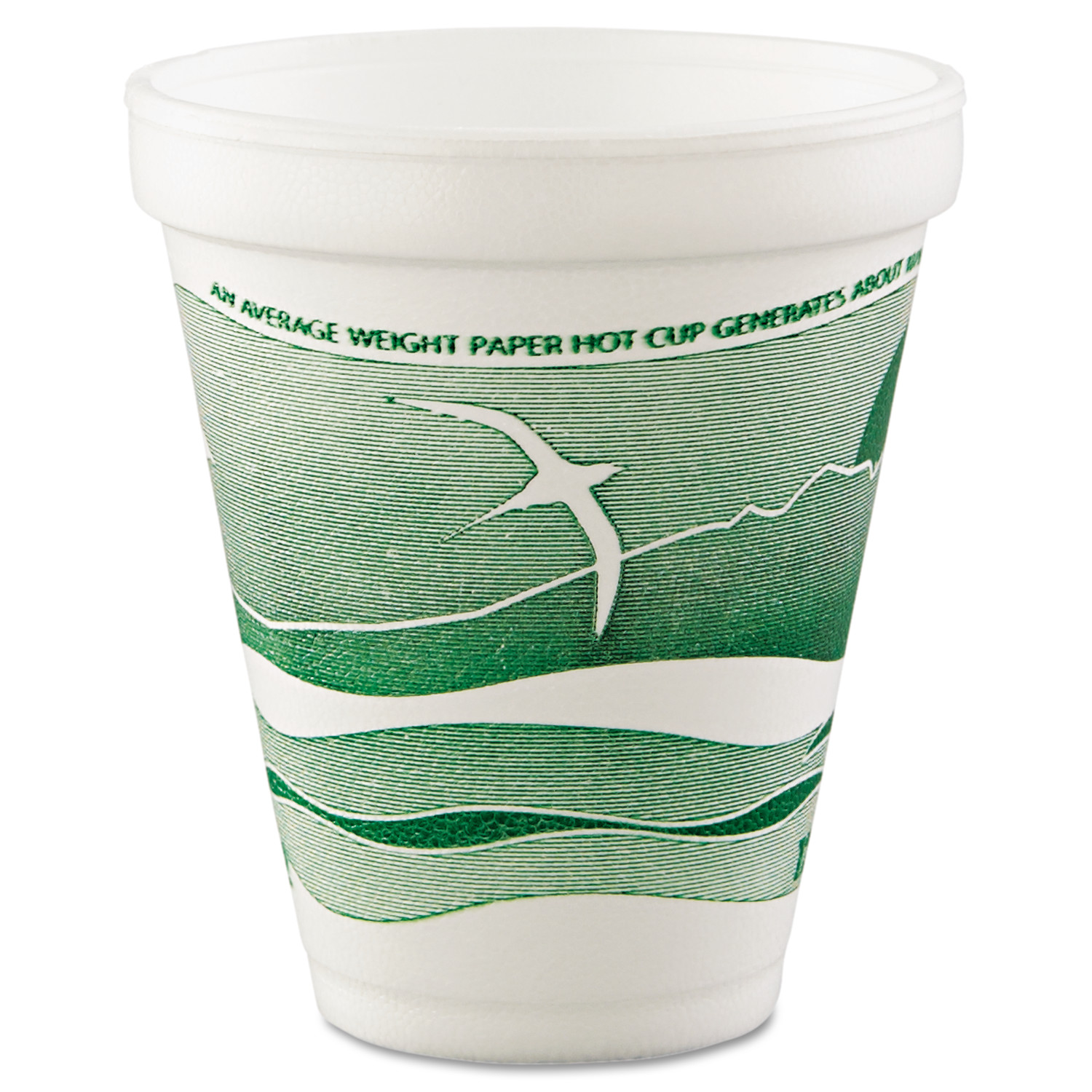 Dart Horizon Hot/Cold 12 Oz Foam Drinking Cups, Green/White, 1000 count