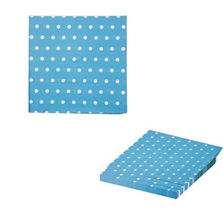 Blue and White Polka Dot Party Napkins, 40 Count, 6.5