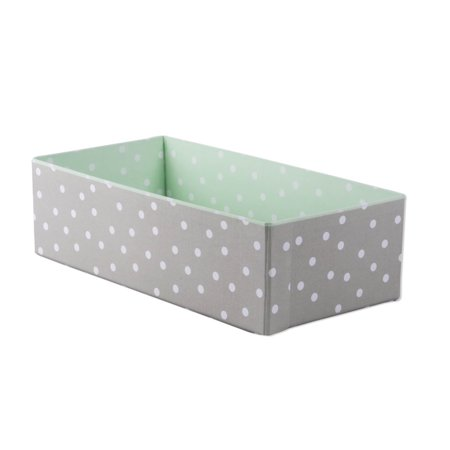 Rectangular Drawer - Home Traditions Customizable Storage Compartment - Rectangular, Foldable Sock/Underwear Drawer Divider or Closet/Nursery Organizer Bin, Light Green and Grey Polka Dot