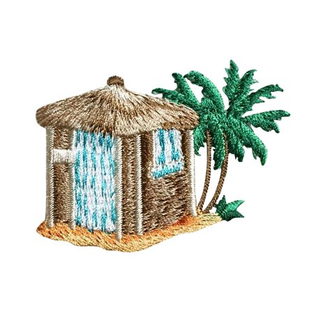 Tiki Hut - Palm Trees - Beach/Surf/Tropical - Iron On Applique/Embroidered Patch](Diy Tiki Hut)