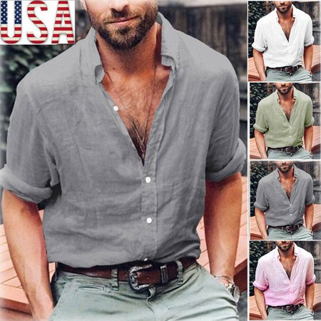 Mens Long Sleeve Shirt Cotton Linen Beach Loose Fit Tops Blouse V Neck