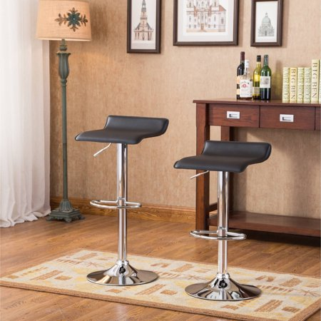 Roundhill Contemporary Chrome Air Lift Adjustable Swivel Stools, Set of 2, Multiple Colors Available