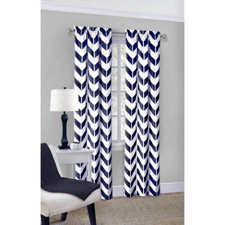 Mainstays Chevron Polyester/Cotton Curtain Panel Pair - Walmart.com