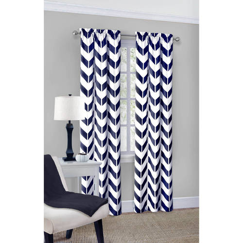 Mainstays Chevron Polyester/Cotton Curtain Panel Pair