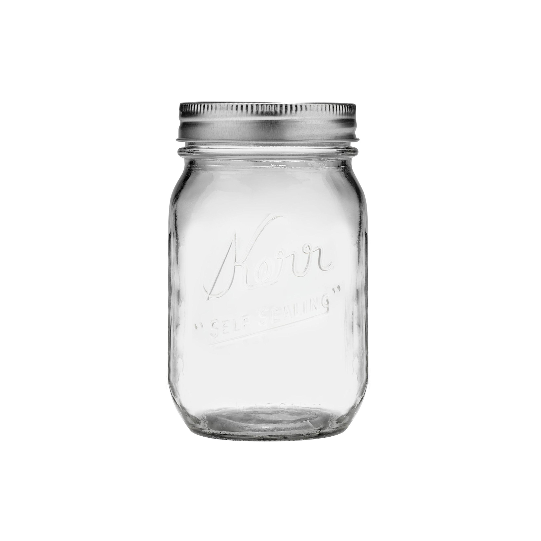 Kerr Glass Mason Jars w/ Lids & Bands, Regular Mouth, 16 Ounces, 12 Count