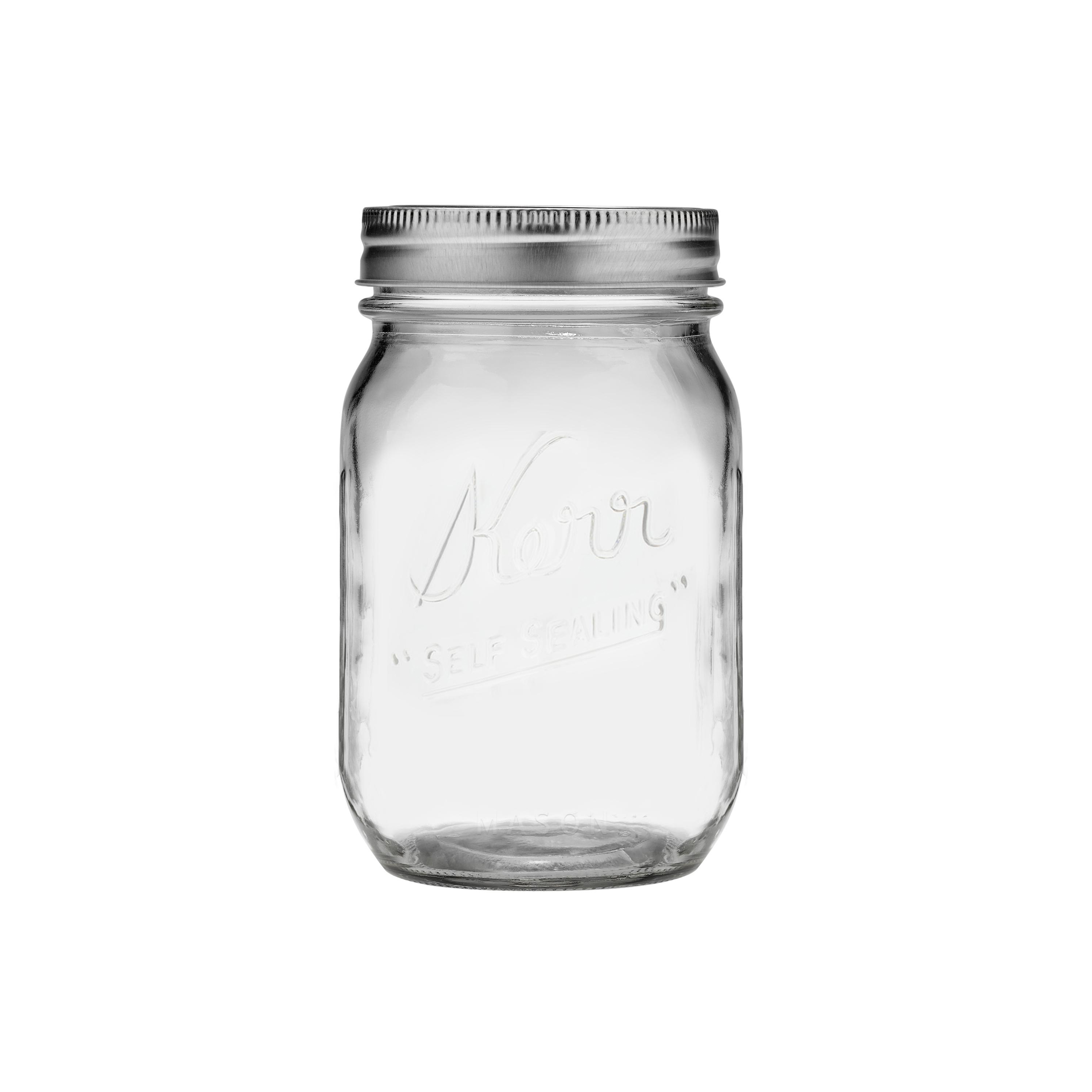 Kerr Regular Mouth Pint Glass Mason Jars with Lids and Bands, 16 oz., 12 Count