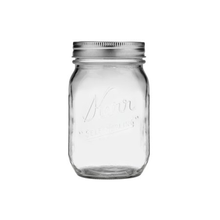 Kerr Pint Glass Mason Jar w/Lid & Band, 16 Ounces, 12 Count for $<!---->