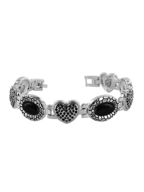 5356d4647 Product Image Gem Avenue Black Oval and Heart Magnetic Link Therapy Bracelet  7 inch Long x 14mm with