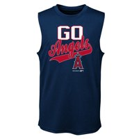 MLB Los Angeles ANGELS TEE Sleeveless Boys Fashion Jersey Tee 100% Polyester Quick Dry Alternate Color Team Tee 4-18
