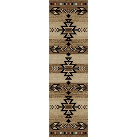 Dean Santa Fe Beige Rustic Southwestern Lodge Cabin Carpet Runner Rug 2'3