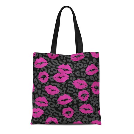 ASHLEIGH Canvas Bag Resuable Tote Grocery Shopping Bags Pink Lipstick Kiss Gray Girl Leopard Lip 1980S Rock Grey Roll Tote Bag](1980s Girls)