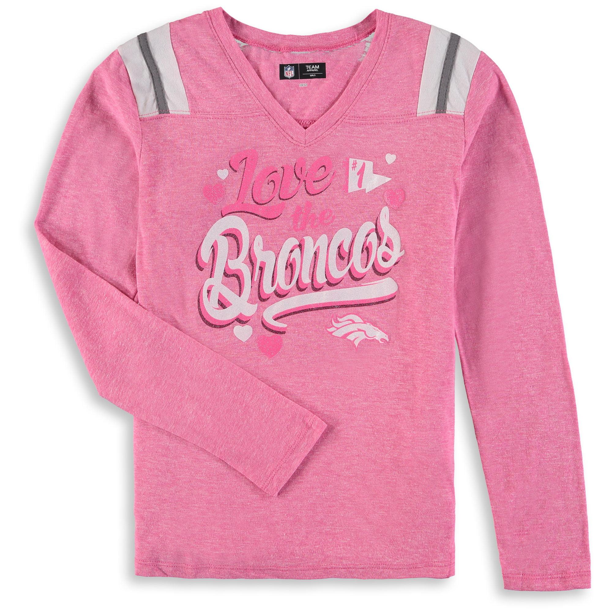 Denver Broncos New Era Girls Youth Love for My Team Long Sleeve Tri-Blend V-Neck T-Shirt - Pink