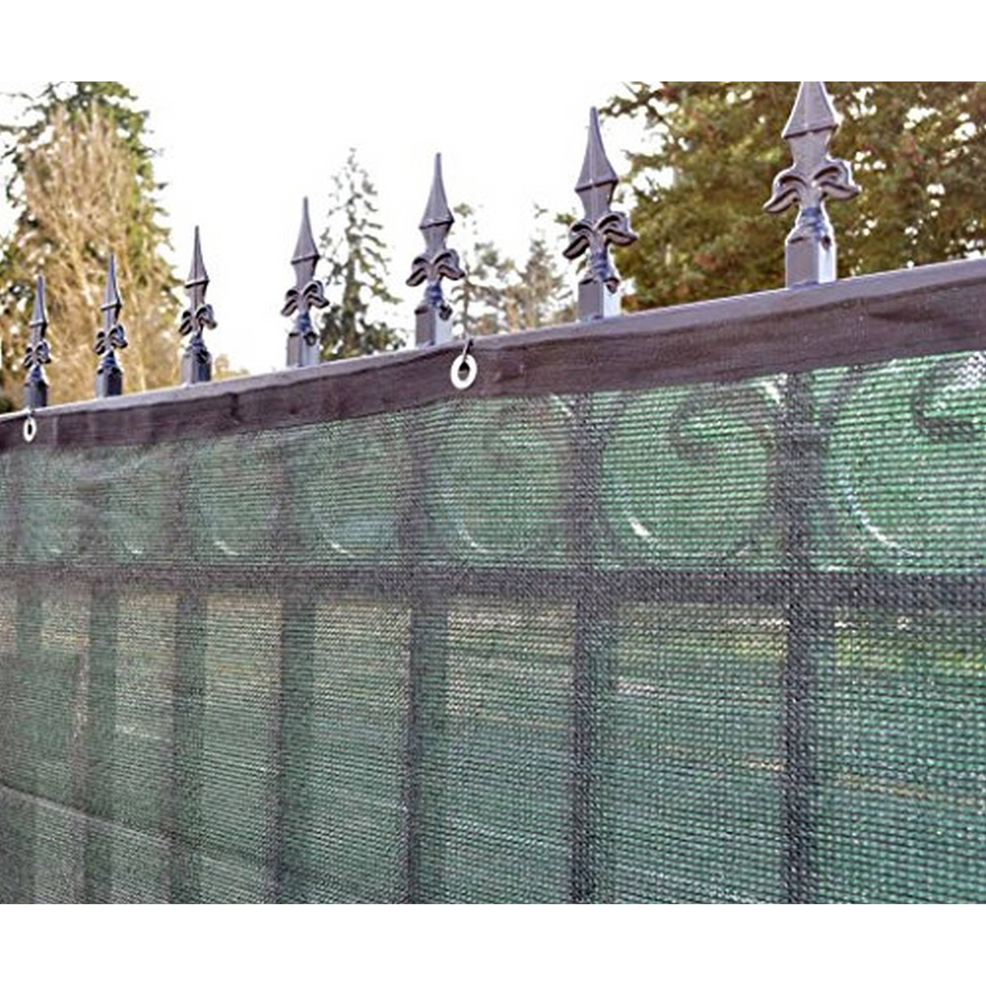 Aleko 6u0027 X 50u0027 Dark Green Fence Privacy Screen Windscreen Shade Cover Mesh  Fabric   Walmart.com