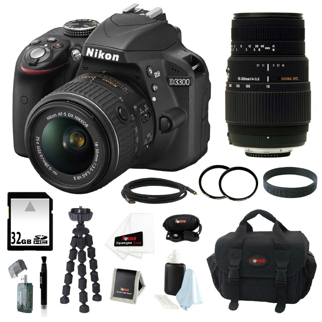Nikon D3300 DSLR Camera with 18-55mm and 70-300mm Lens Bundle