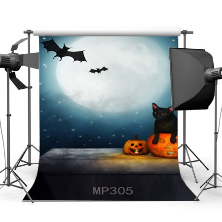 GreenDecor Polyster 5x7ft Photography Backdrop Halloween Horror Night Mysterious Moon Starry Night Black Cat Bat Pumpkin Scene Masquerade Background Studio Prop