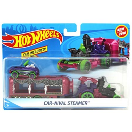 Hot Wheels 2018 Halloween Spooky Car-Nival Steamer Vehicle w/ Detachable Trailer and Pedal Car](Halloween Car)